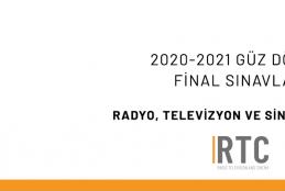 Radyo, TV ve Sinema Bölümü - 2020-2021 Güz Dönemi Bütünleme Sınavları