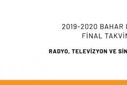 2019-2020 Bahar Dönemi Final Sınavları Duyurusu
